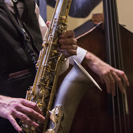 Close up of saxophone being played
